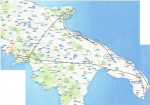 Kako sva se  vozila po Italiji  - za boljšo predstavo kje sva bila. Obkrožena mesta so kraji  kjer sva prenočevala.